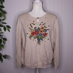 Alfred Dunner Floral Embroidered Sweater Size XL
